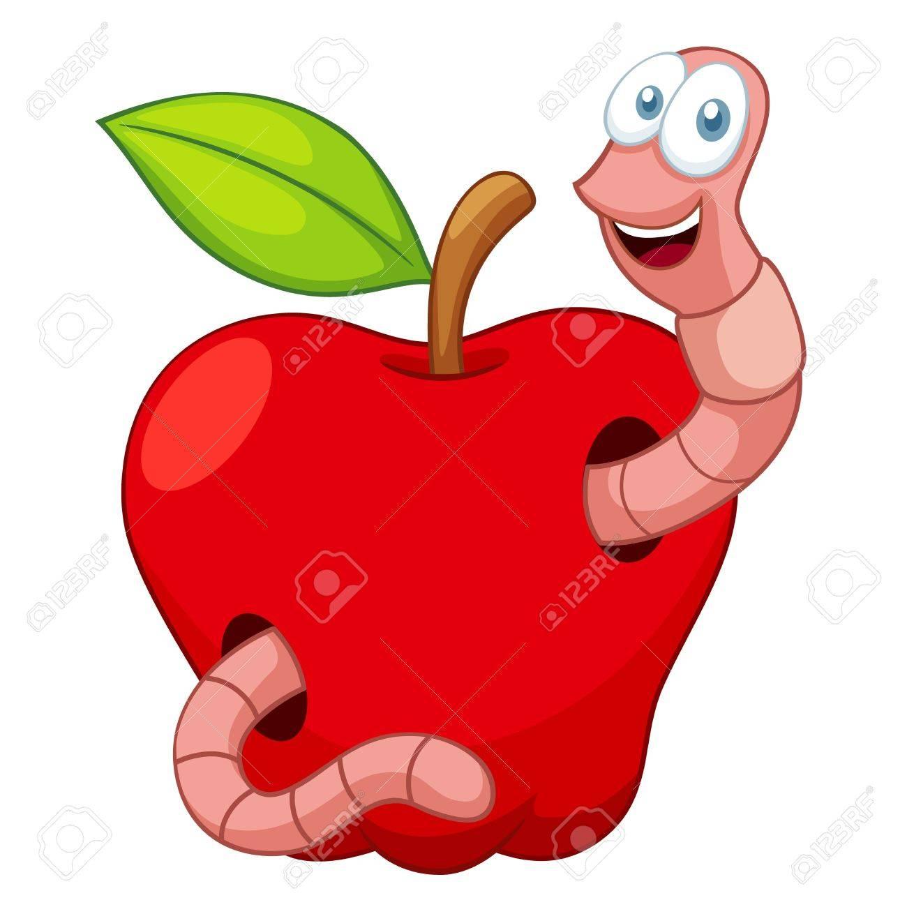 illustration of Cartoon Worm In Apple Stock Vector - 16772028