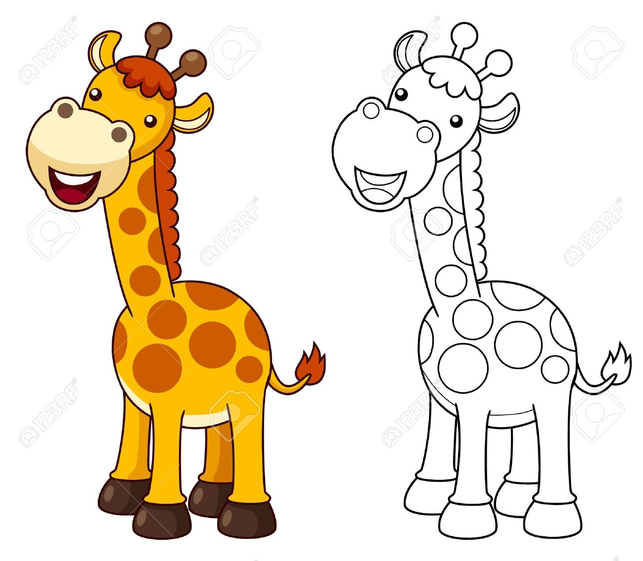Illustration Of Cartoon Giraffe Vector Royalty Free Cliparts