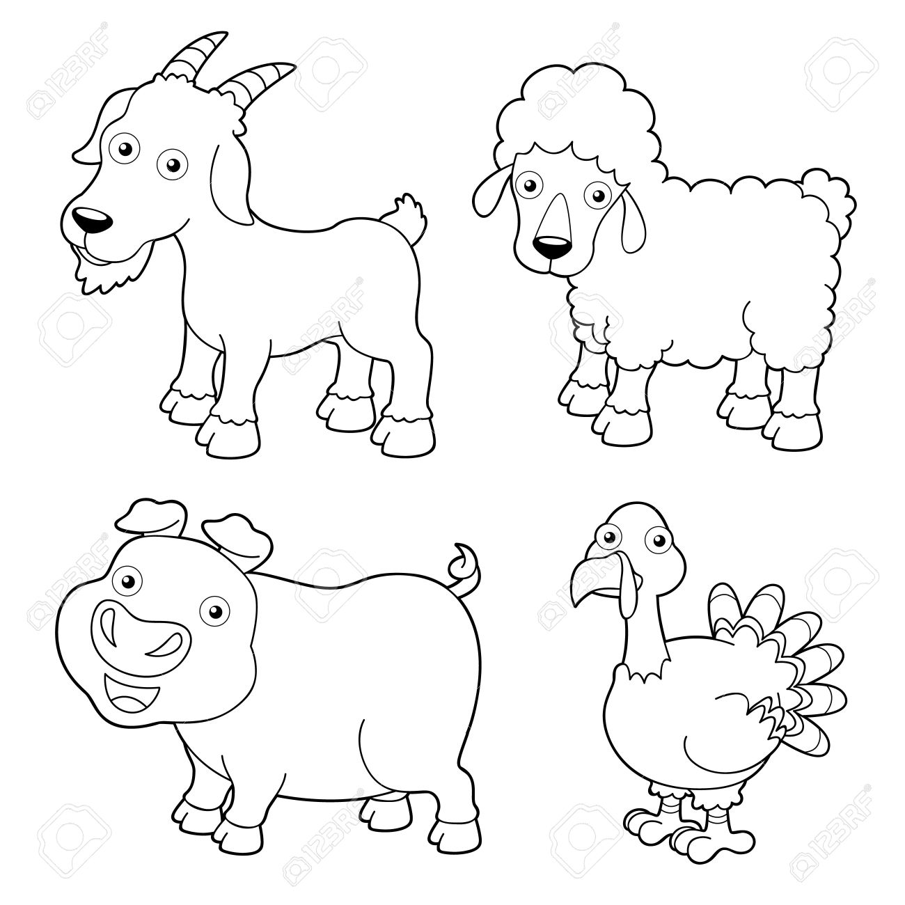 Illustration Of Farm Animals Cartoon - Coloring Book Royalty Free ...