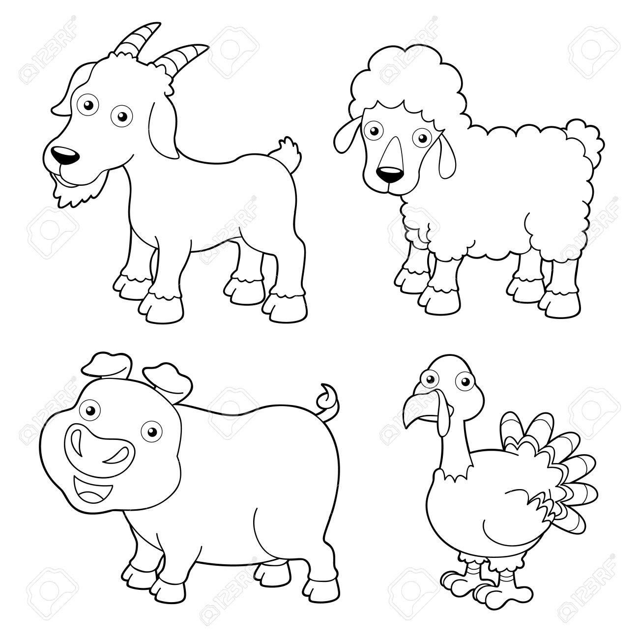 Ilustración De Dibujos Animados Animales Granja Libro Para Colorear