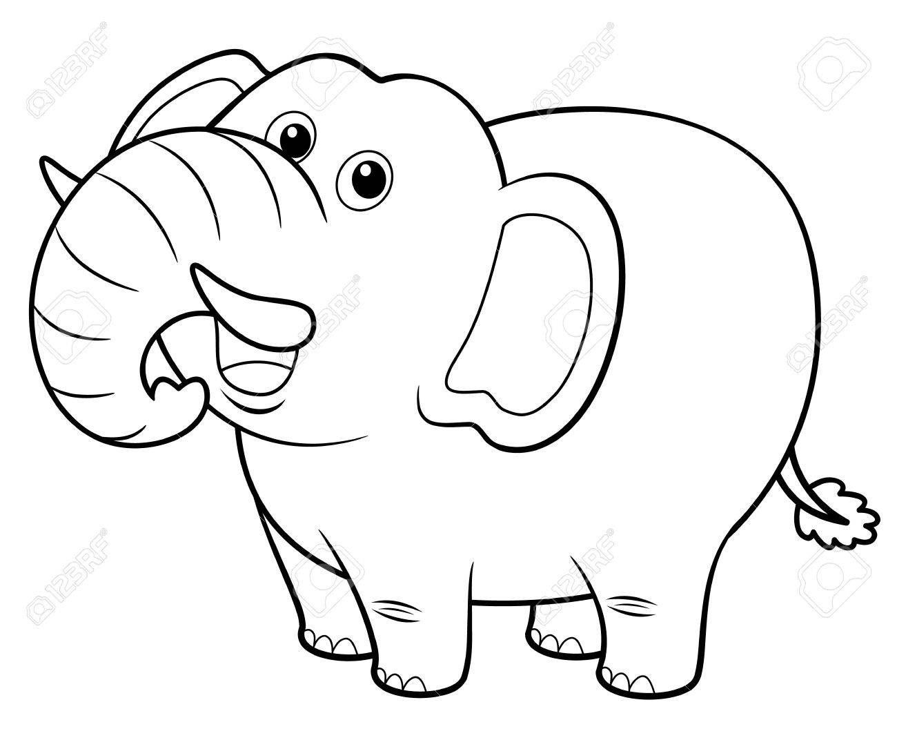Illustration Of Cartoon Elephant - Coloring Book Royalty Free ...