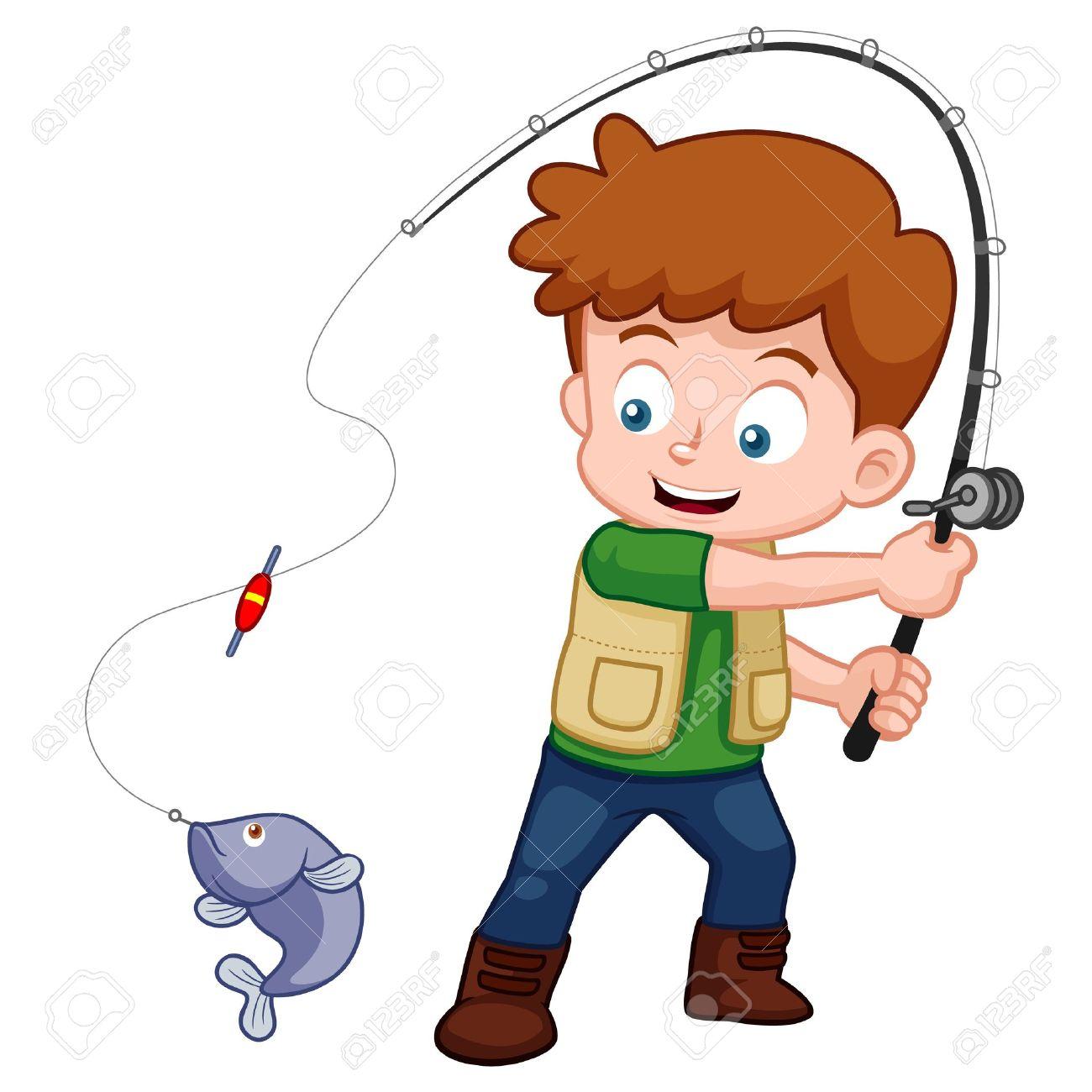 Illustration Of Cartoon Boy Fishing Royalty Free Cliparts Vectors - Cartoon-boy-images-free