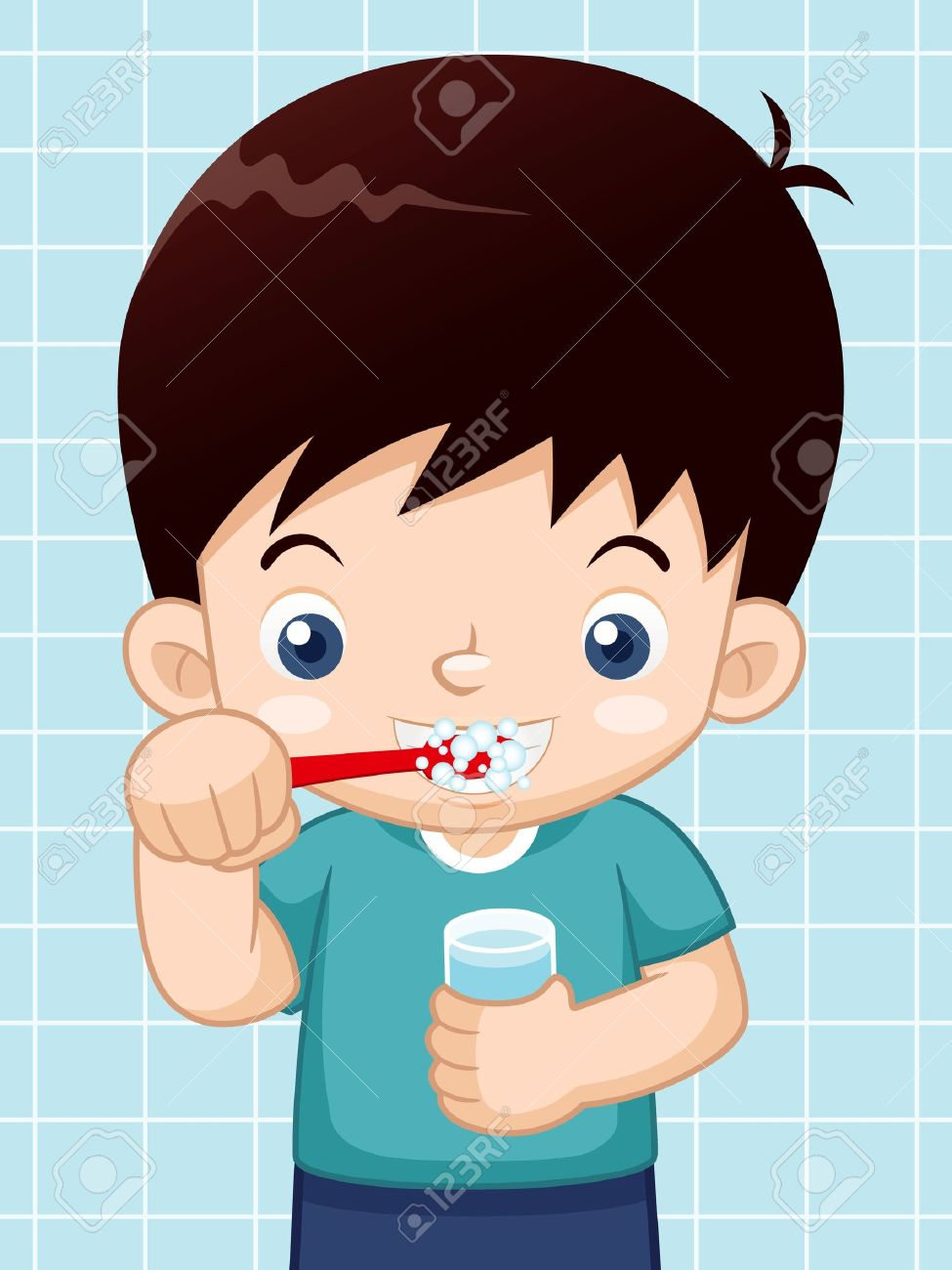 illustration of boy brushing his teeth royalty free cliparts