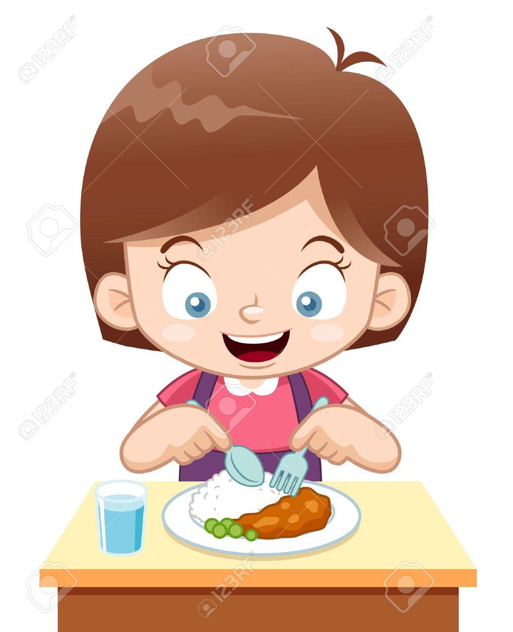 rice cartoon illustration of cartoon girl eating illustration - Cartoon Picture Of Child