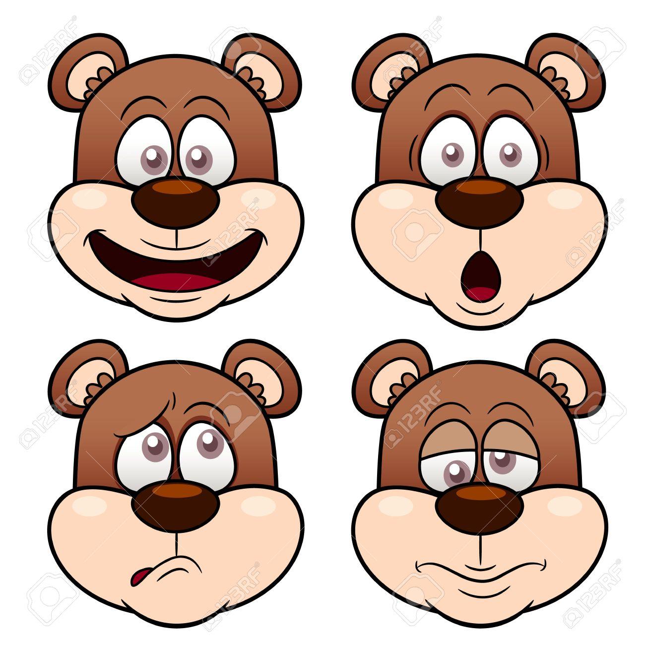 Ilustración De La Cara De Oso De Dibujos Animados Ilustraciones