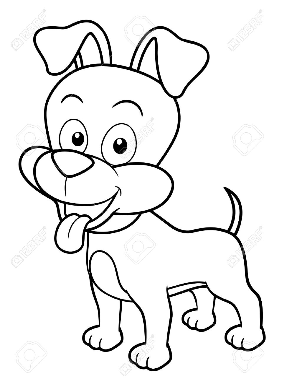 Illustration Of Cartoon Dog - Coloring Book Royalty Free Cliparts ...