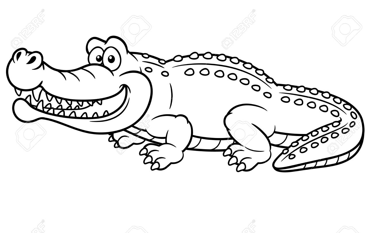 Illustration Of Cartoon Crocodile - Coloring Book Royalty Free ... for Clipart Crocodile Black And White  150ifm