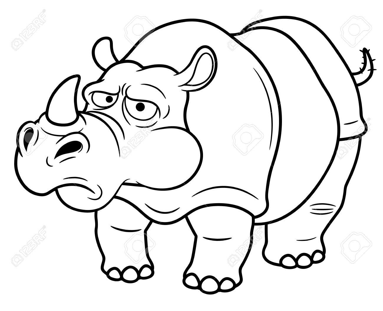 illustration of cartoon rhino coloring book royalty free