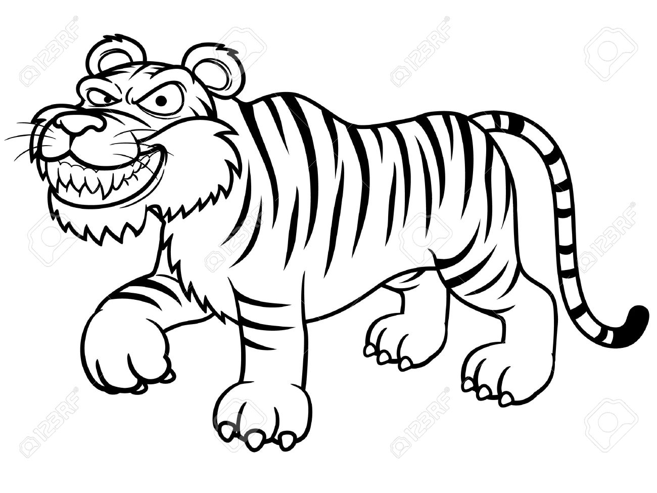 Illustration Of Cartoon Tiger Coloring Book Royalty Free