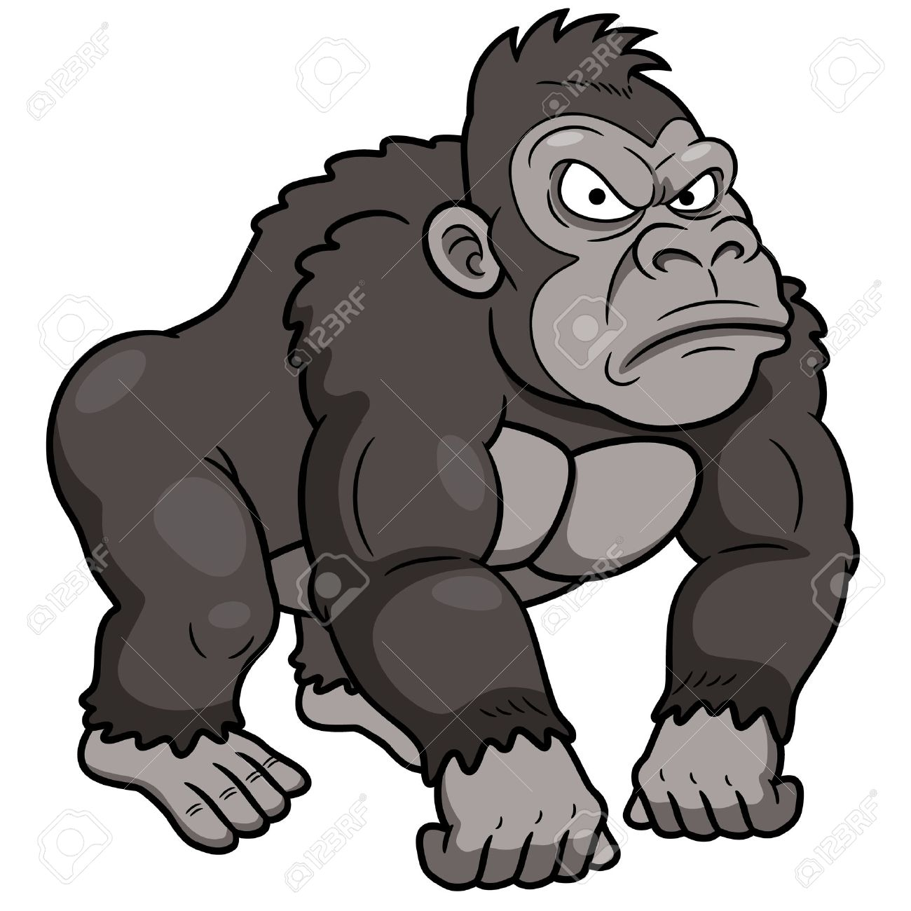 Gorilla Face Cartoon Gorilla Cartoon Illustration