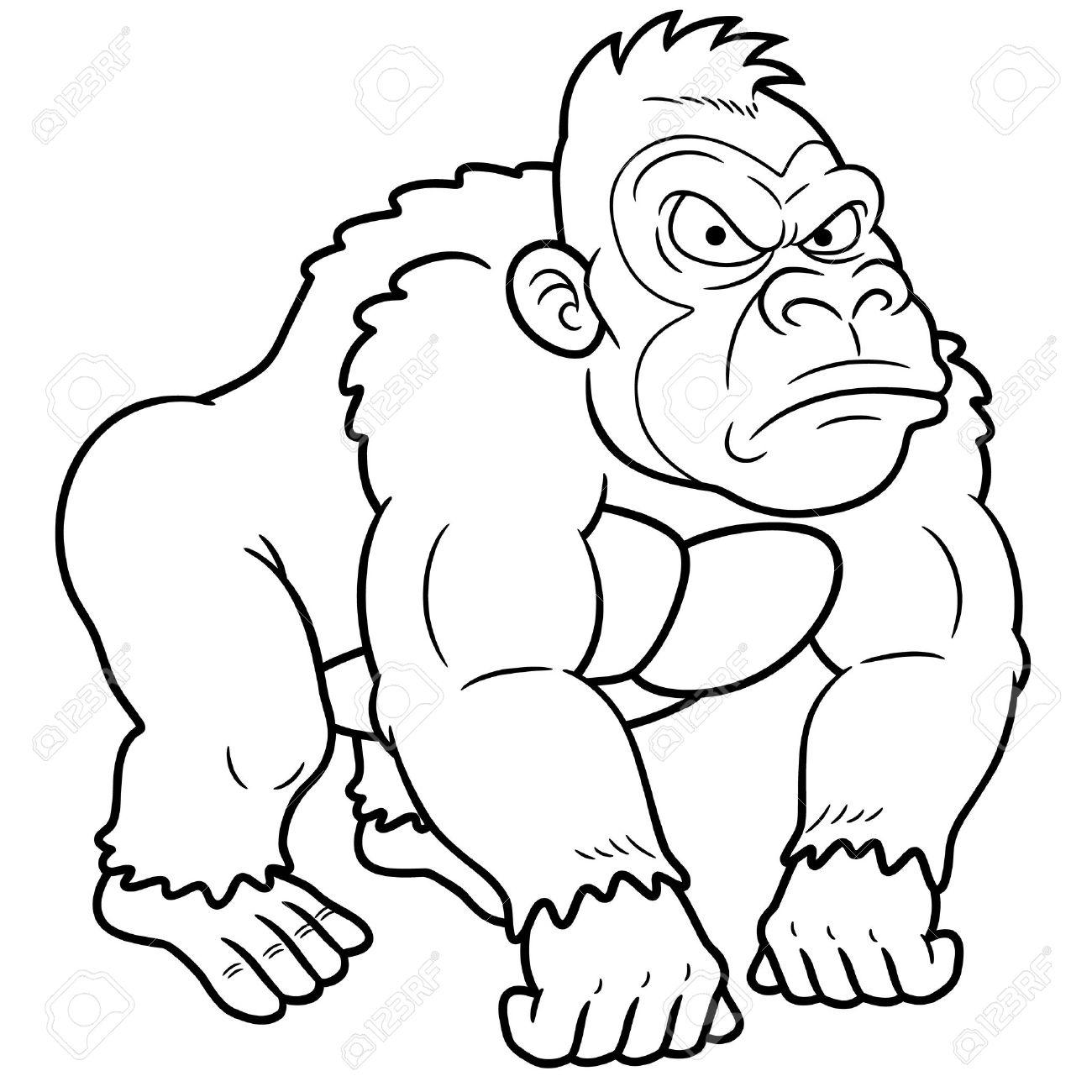 Coloring pages gorilla - Gorilla Illustration Illustration Of Gorilla Cartoon Coloring Book Illustration