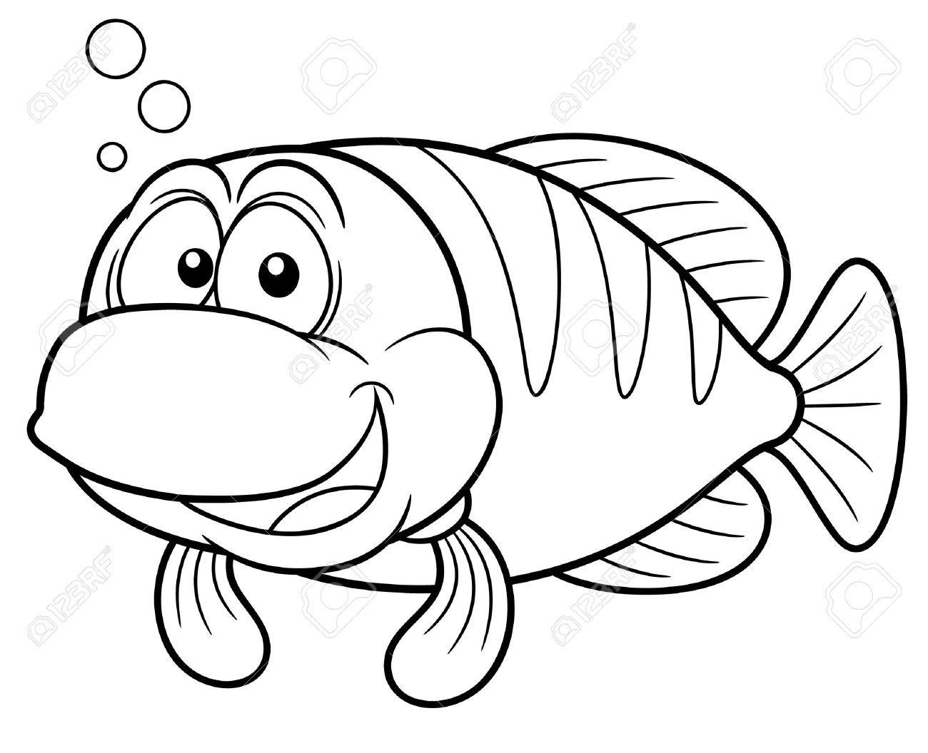 漫画の魚 塗り絵のベクトル イラスト