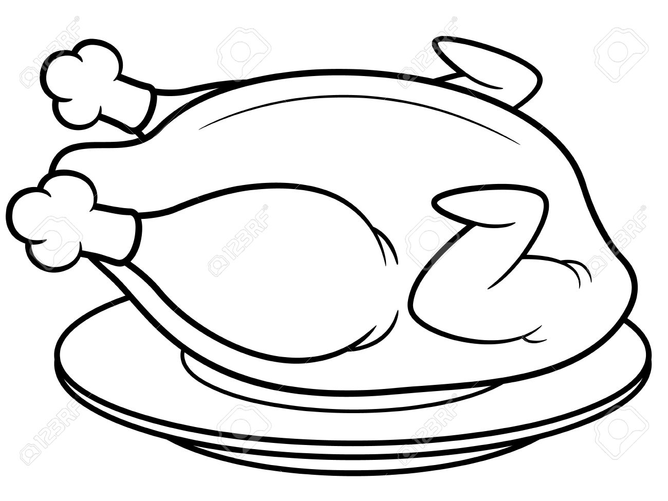 Chicken Meat Drawing of Roast Chicken