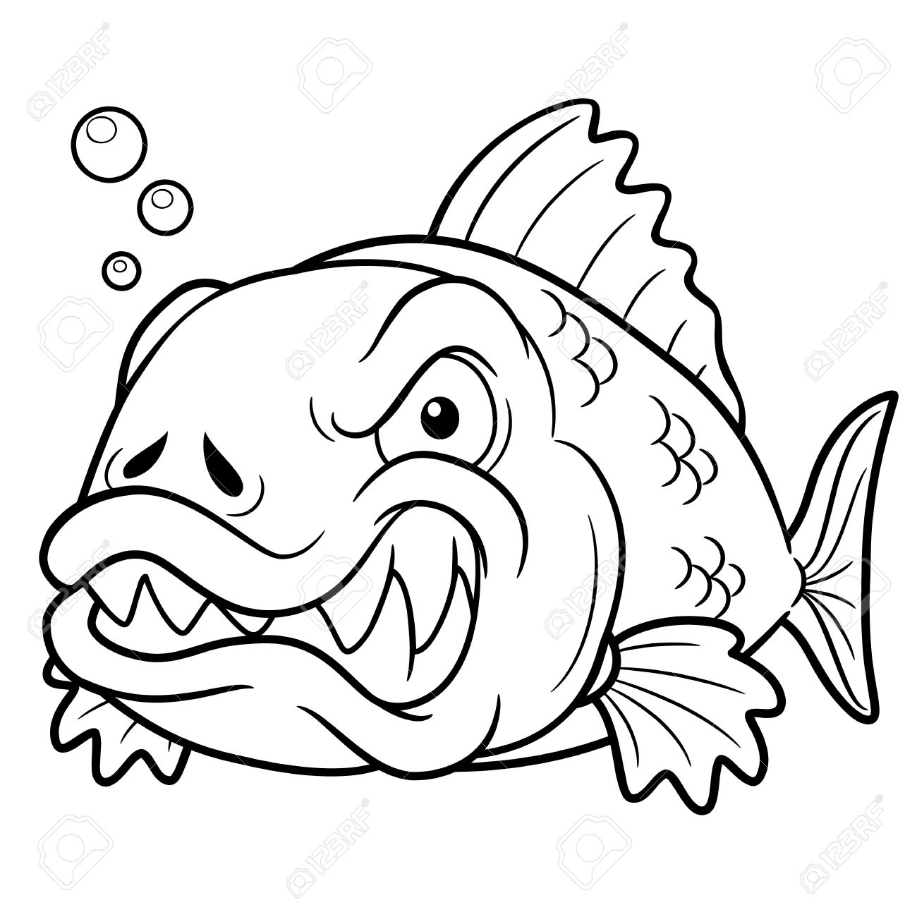 illustration of angry fish cartoon coloring book royalty free