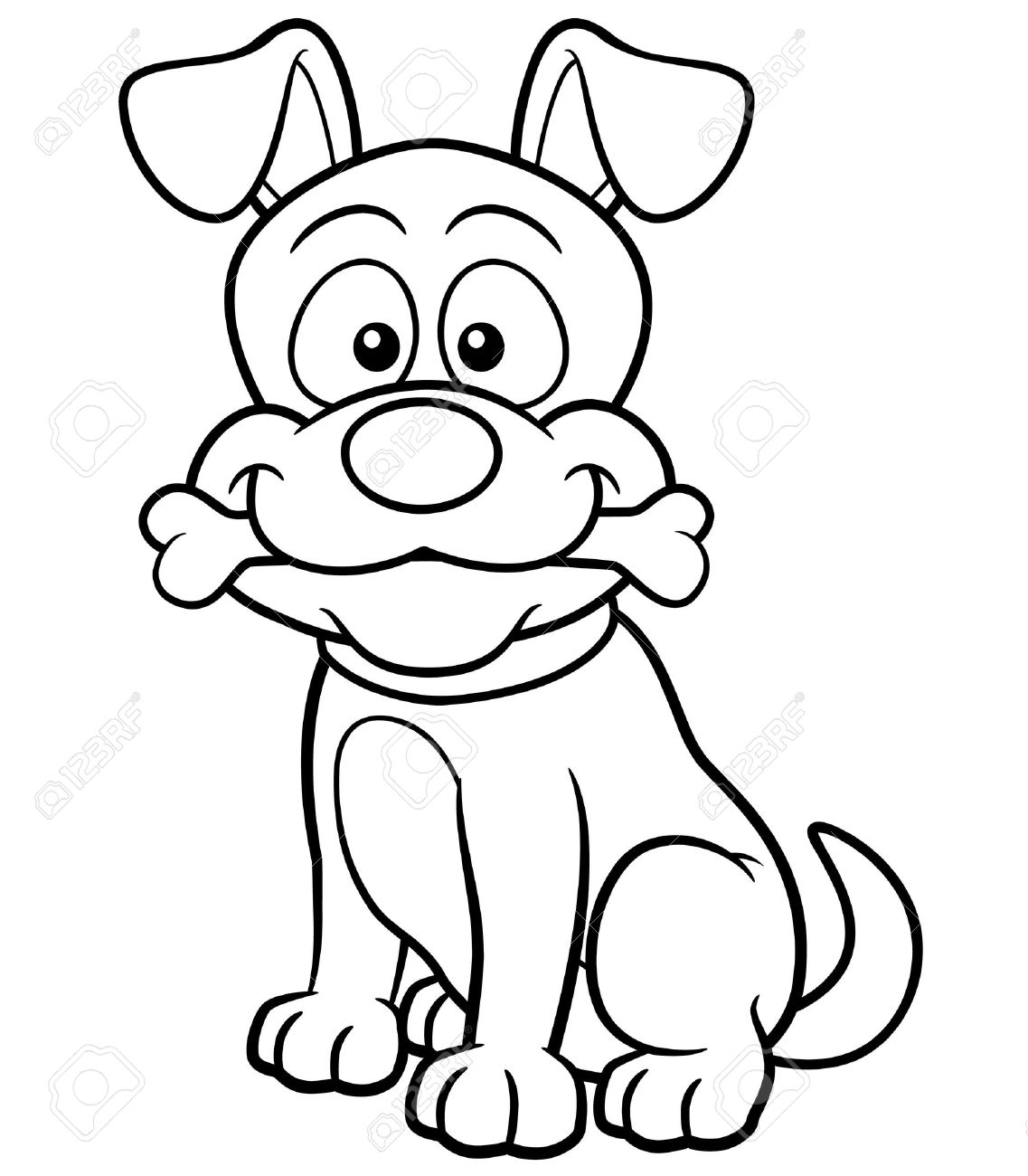 Vector illustration of Cartoon Dog - Coloring book