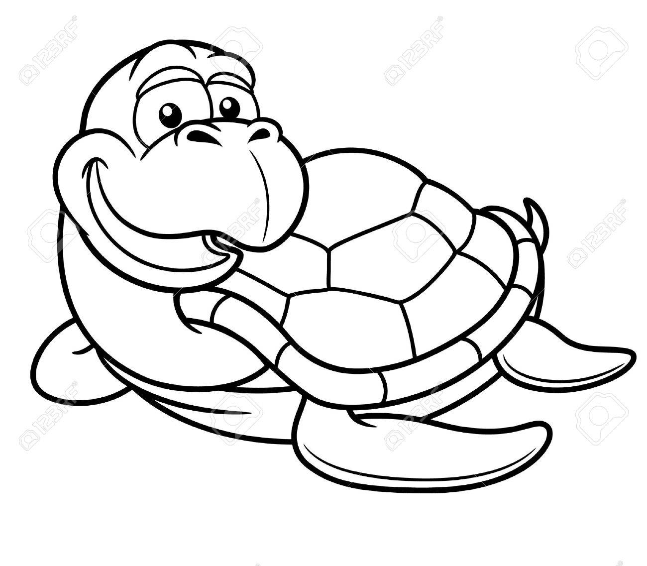 Vector Illustration Of Cartoon Turtle Coloring Book Royalty Free
