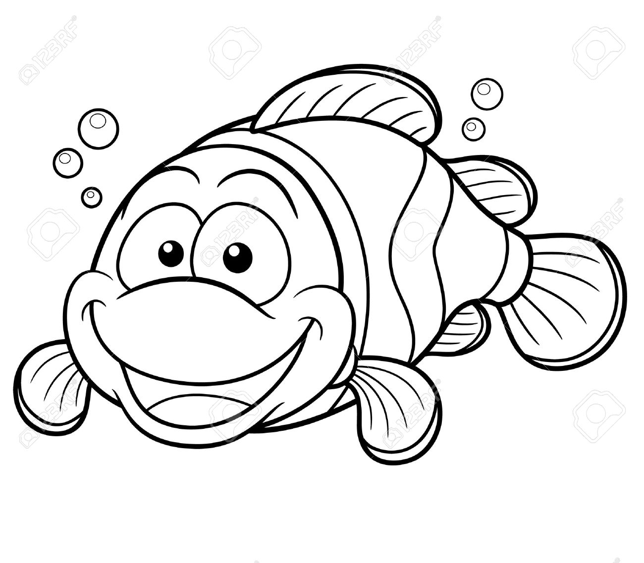Vector Illustration Of Happy Clownfish Cartoon - Coloring Book ...