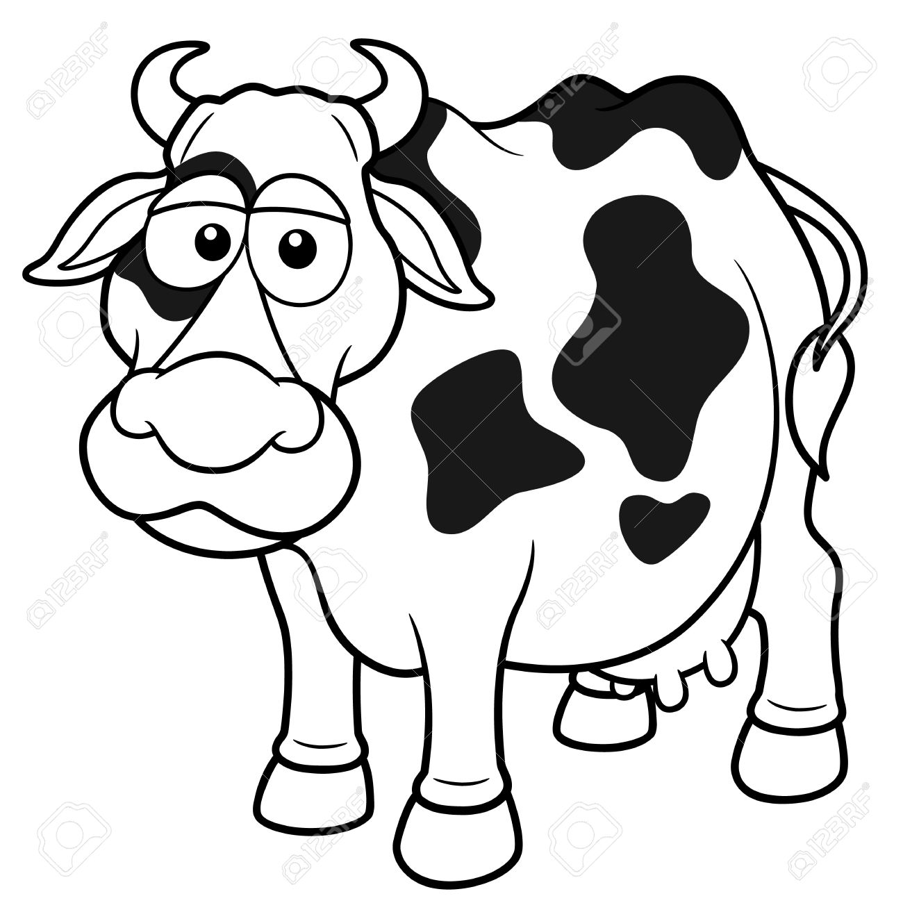 vector illustration of cow cartoon coloring book royalty free