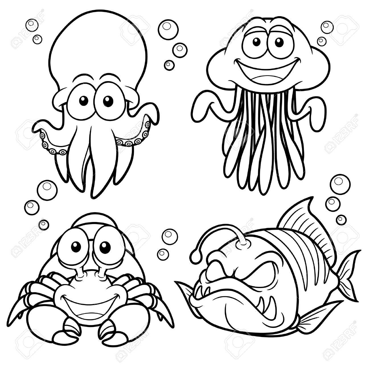 Vector illustration of Sea Animals cartoon - Coloring book Stock Vector - 18726577