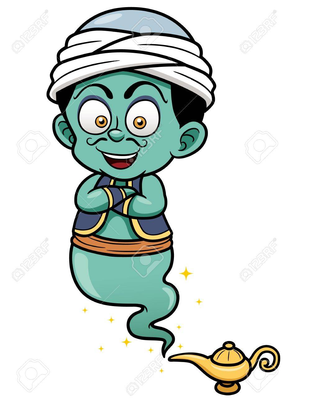 Vector illustration of genie just came out of the lamp Stock Vector - 18852944