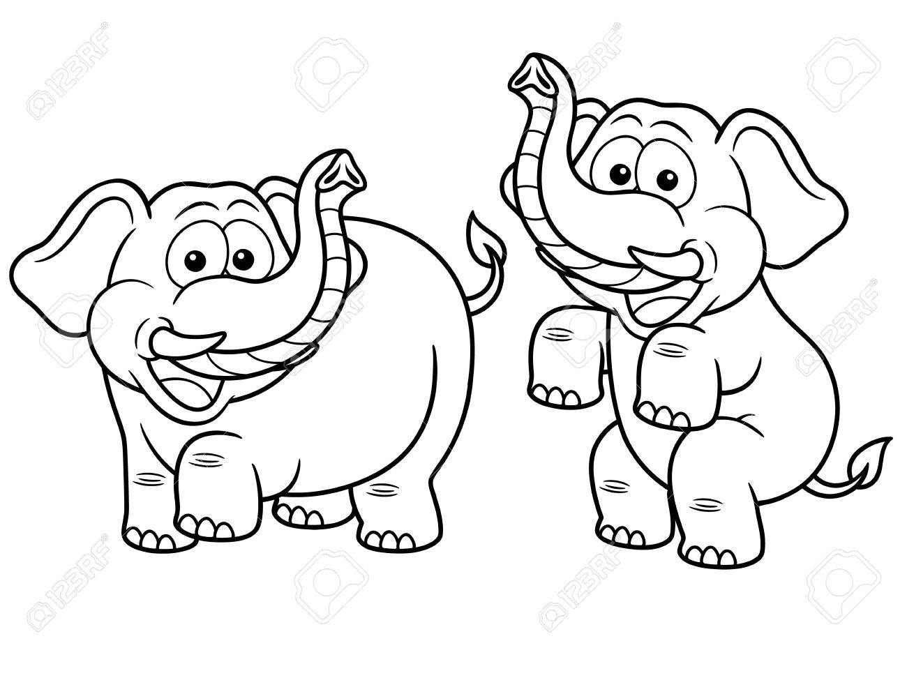 Vector Illustration Of Cartoon Elephant - Coloring Book Royalty Free ...