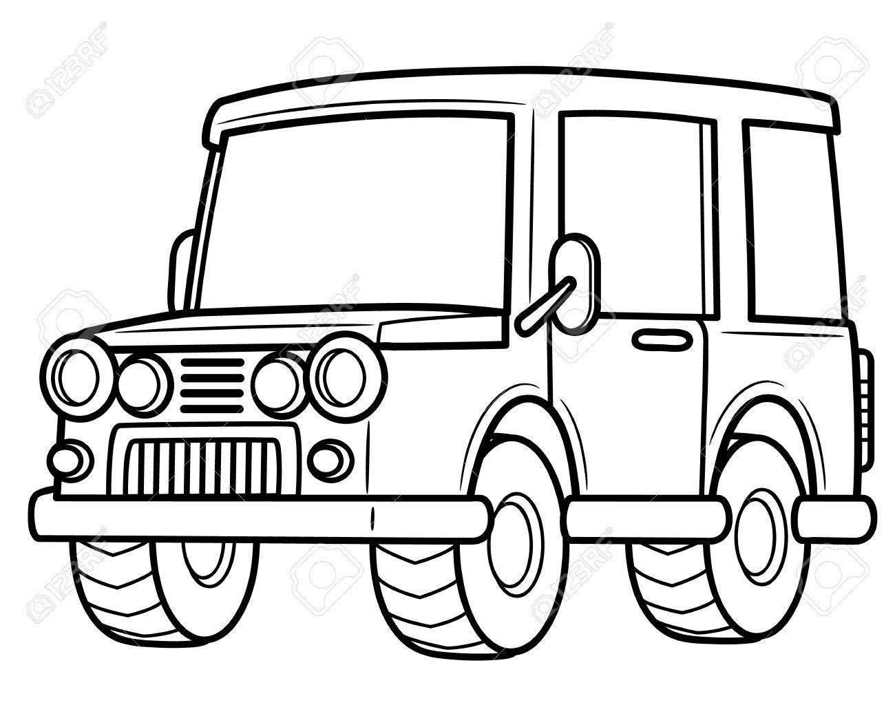 Vector Illustration De La Jeep De Bande Dessinée Livre De Coloriage