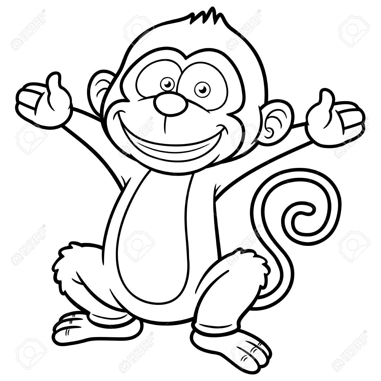 Vector Illustration Of Cartoon Monkey - Coloring Book Royalty Free ...