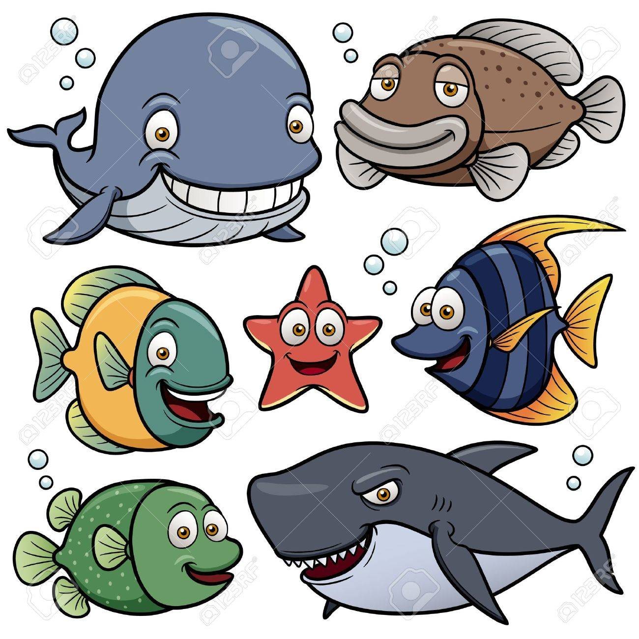 Vector illustration of Sea Animals Collection Stock Vector - 19049119