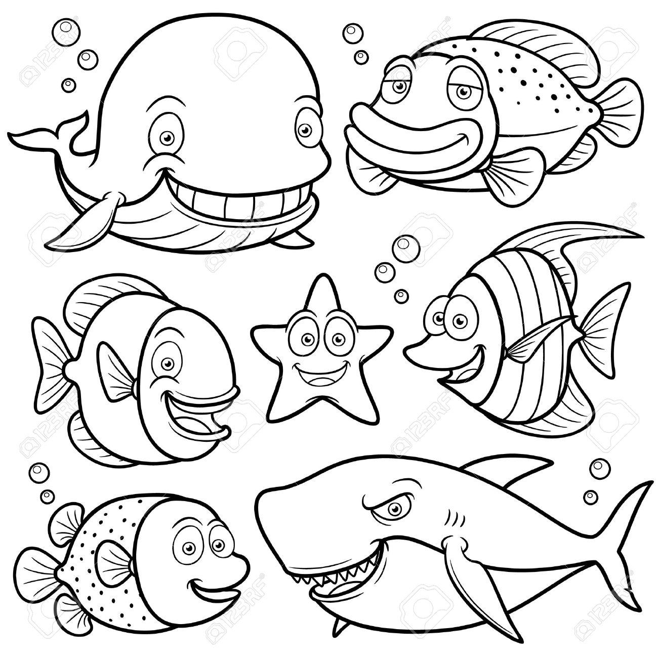 illustration de la mer Animaux Collection Livre  colorier Banque d images