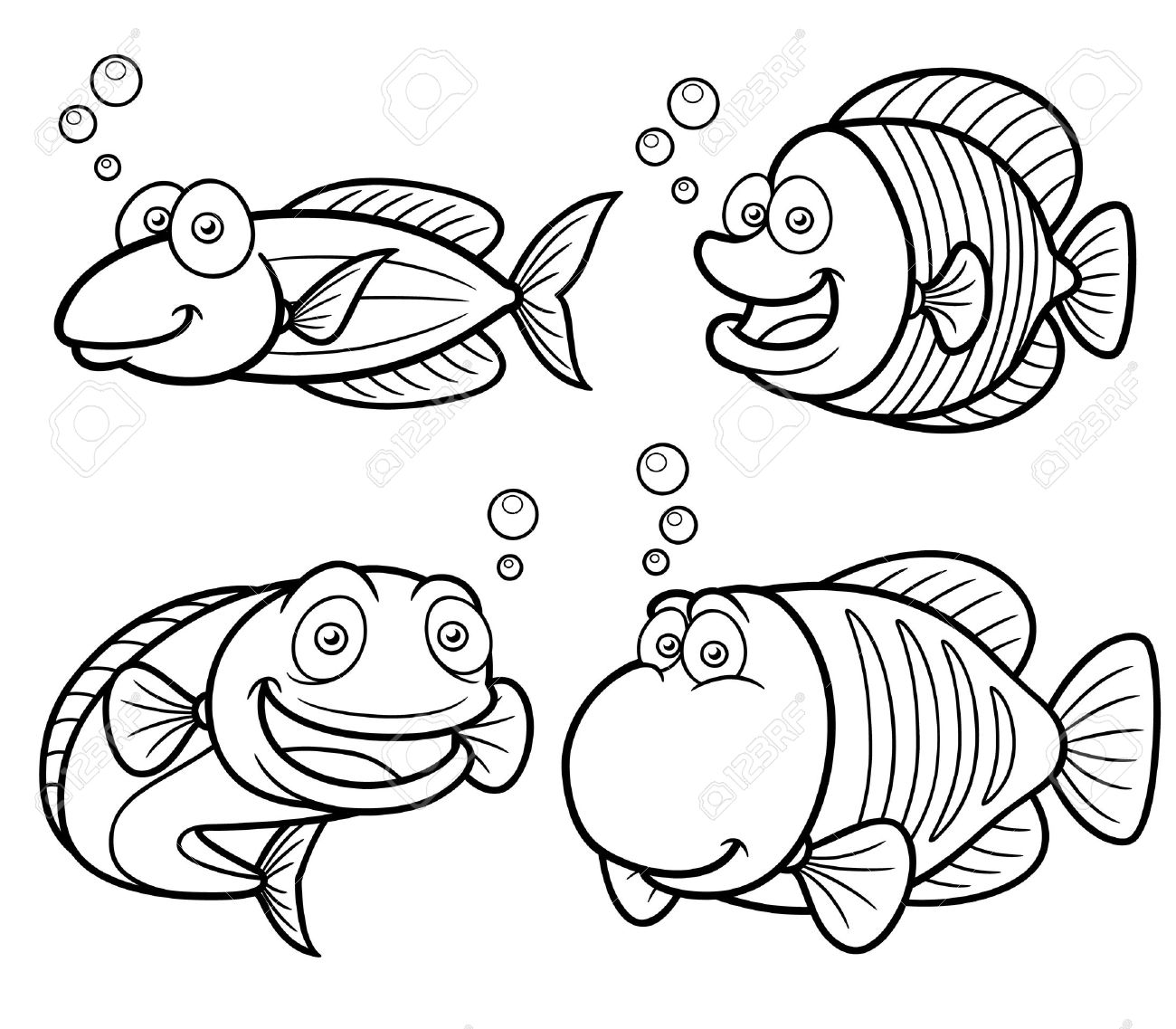 Illustration Of Sea Fish Set - Coloring Book Royalty Free Cliparts ...