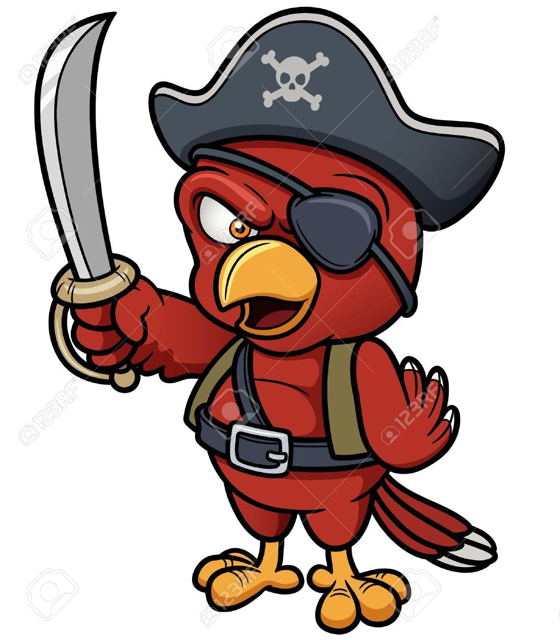 Ilustración del vector de la historieta del loro del pirata Foto de archivo - 19167962