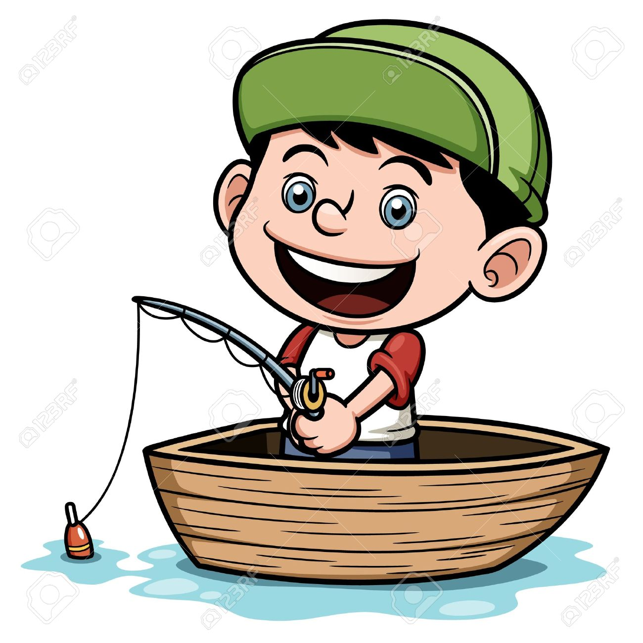 illustration of boy fishing in a boat royalty free cliparts vectors rh 123rf com fishing boat clipart free fishing boat clipart black and white