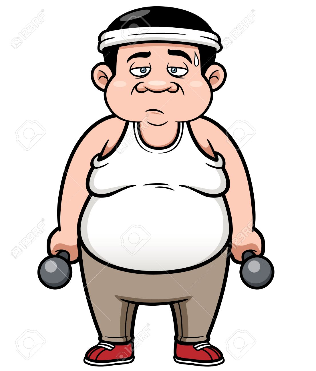 vector illustration of fat man with dumbbells royalty free cliparts rh 123rf com  short fat man clipart