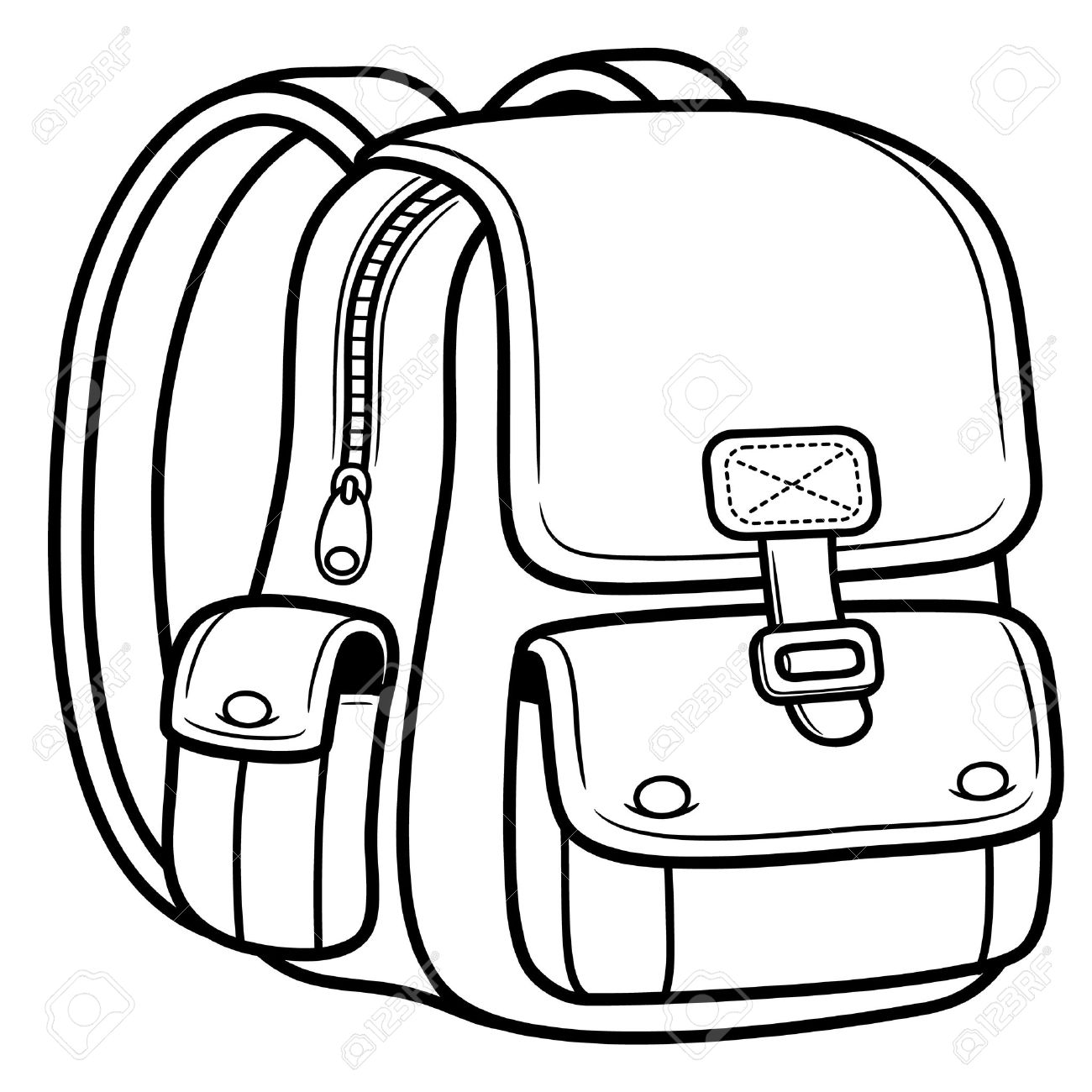 Vector Illustration Of School Bag Back To School Royalty Free - school backpack coloring page