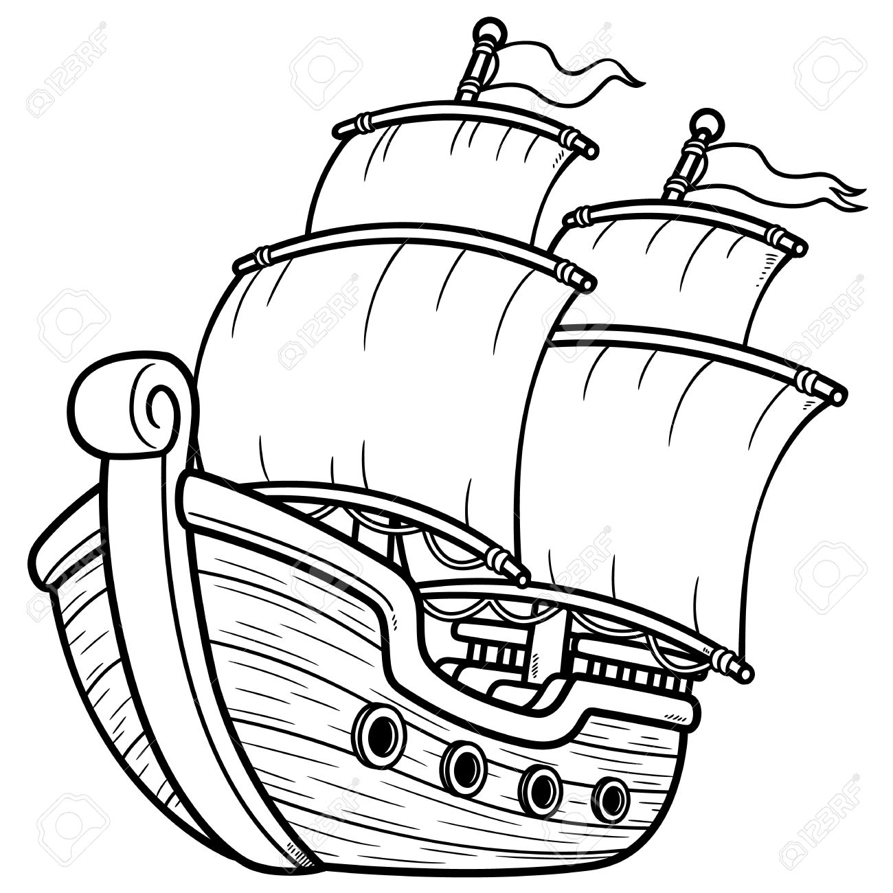 Vector Illustration Of Pirate Ship - Coloring Book Royalty Free ...