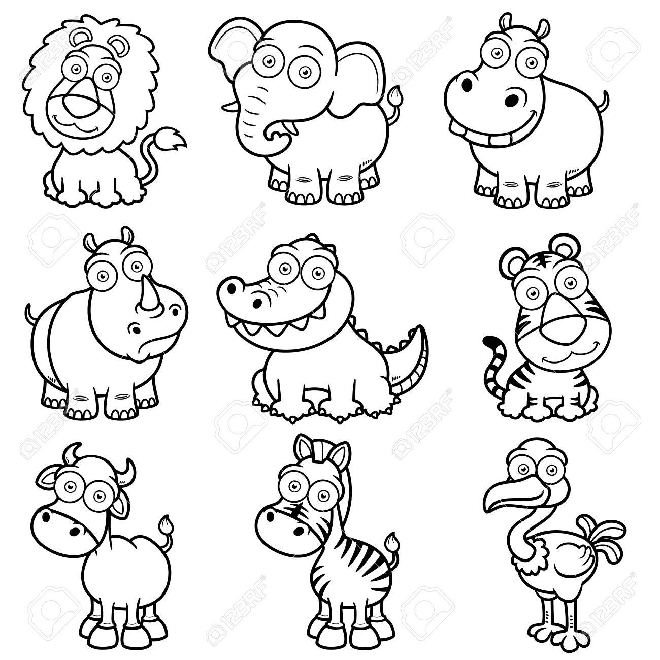 Ilustracion Vectorial De Los Animales Salvajes Caricaturas Libro