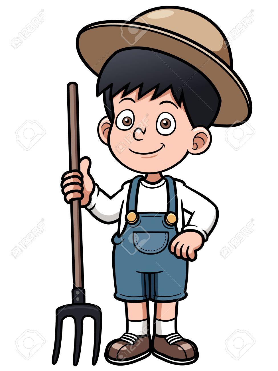Vector illustration of Cartoon little farmer Stock Vector - 20480646
