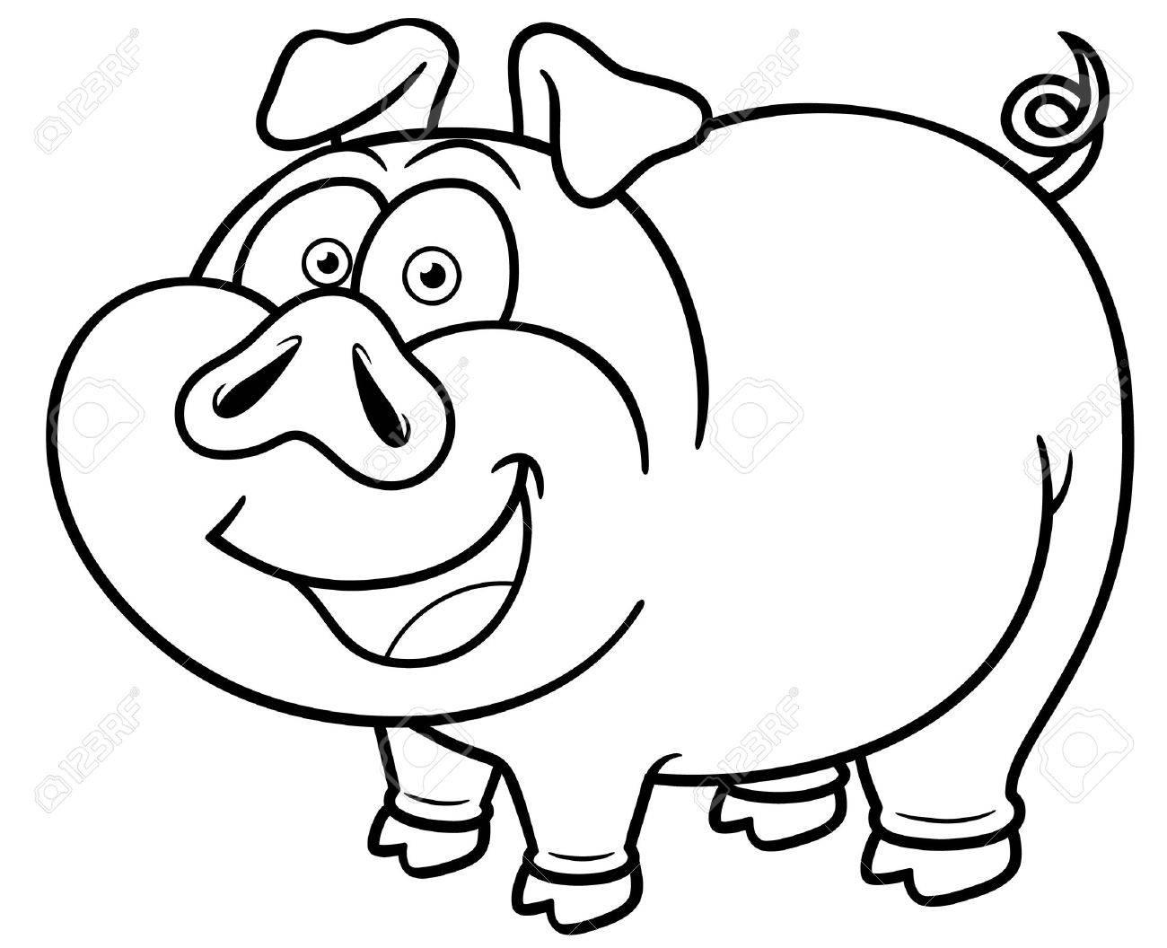 Vector Illustration Of Cartoon Pig - Coloring Book Royalty Free ...