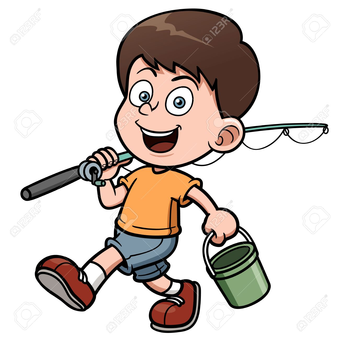 vector illustration of boy fishing royalty free cliparts vectors rh 123rf com  little boy fishing clipart