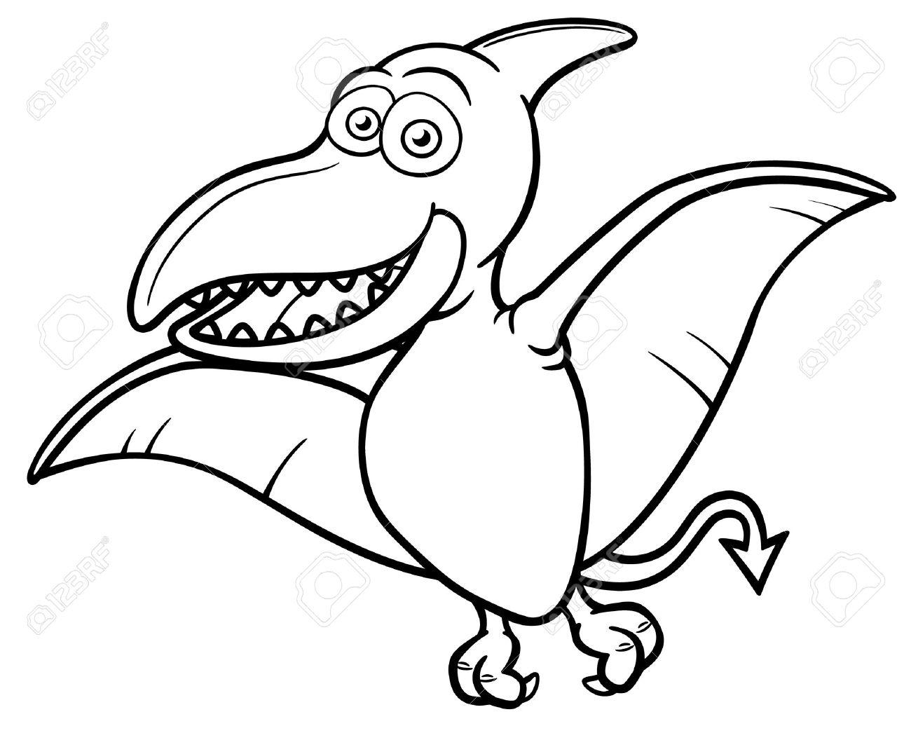 Vector illustration of Cartoon pteranodon - Coloring book Stock Vector - 20685368