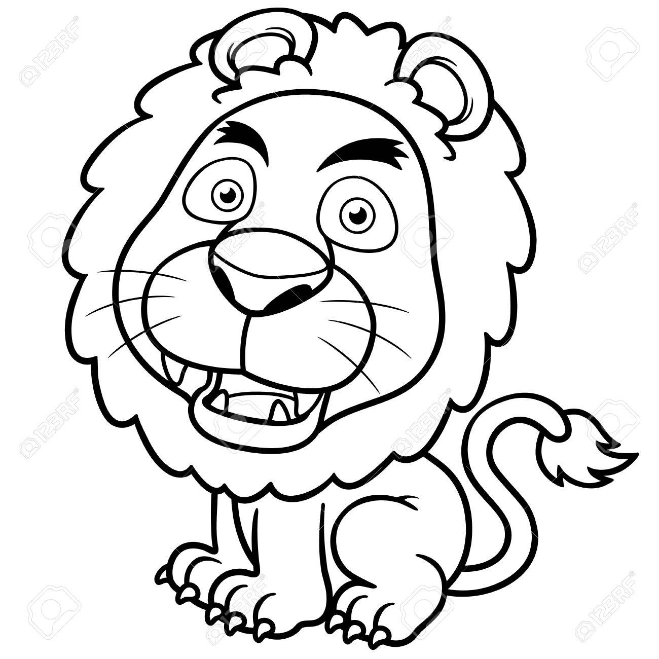 Vector illustration of Lion cartoon - Coloring book Stock Vector - 20898209