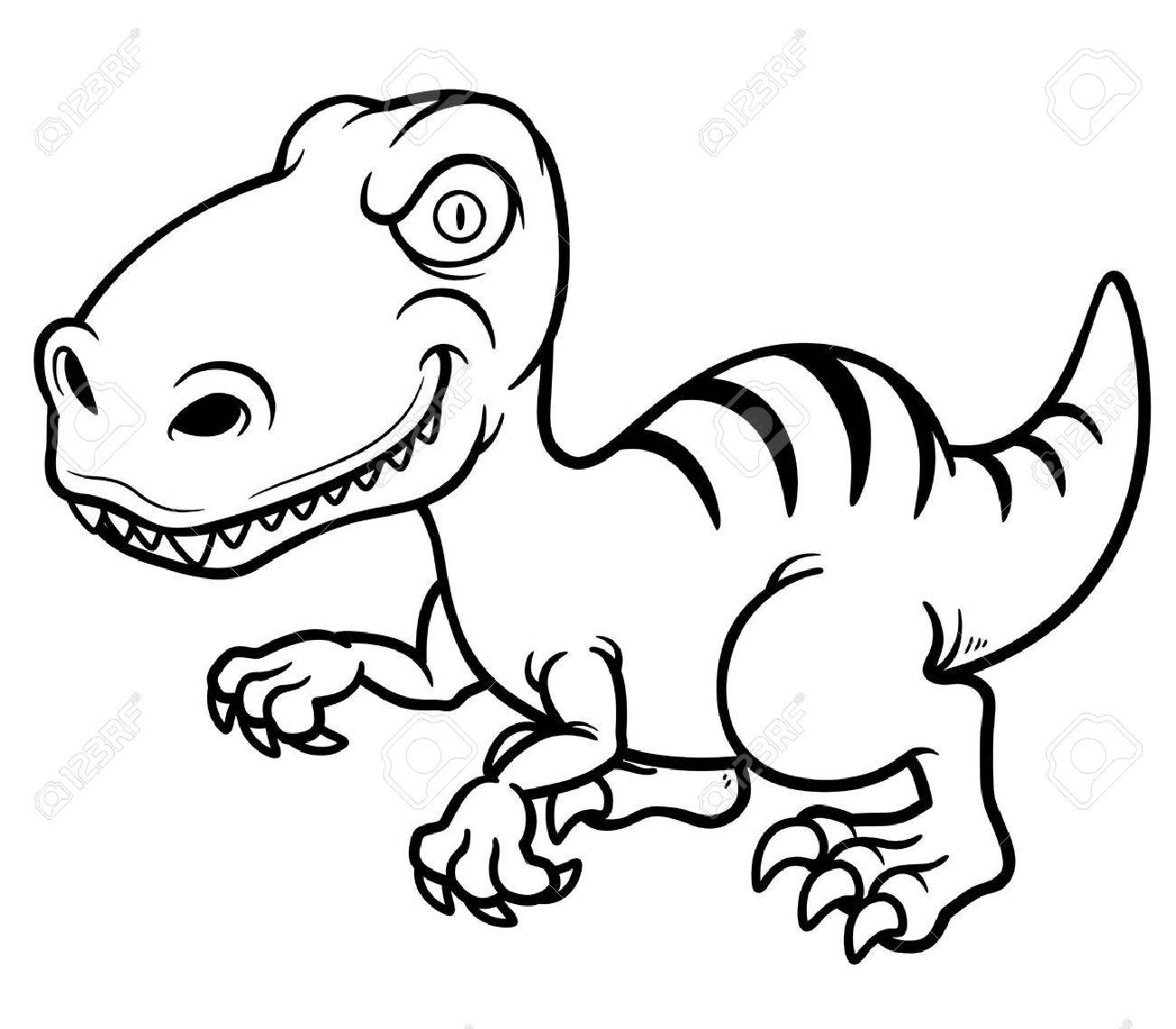 Vector Illustration Of Cartoon Dinosaur - Coloring Book Royalty Free ...