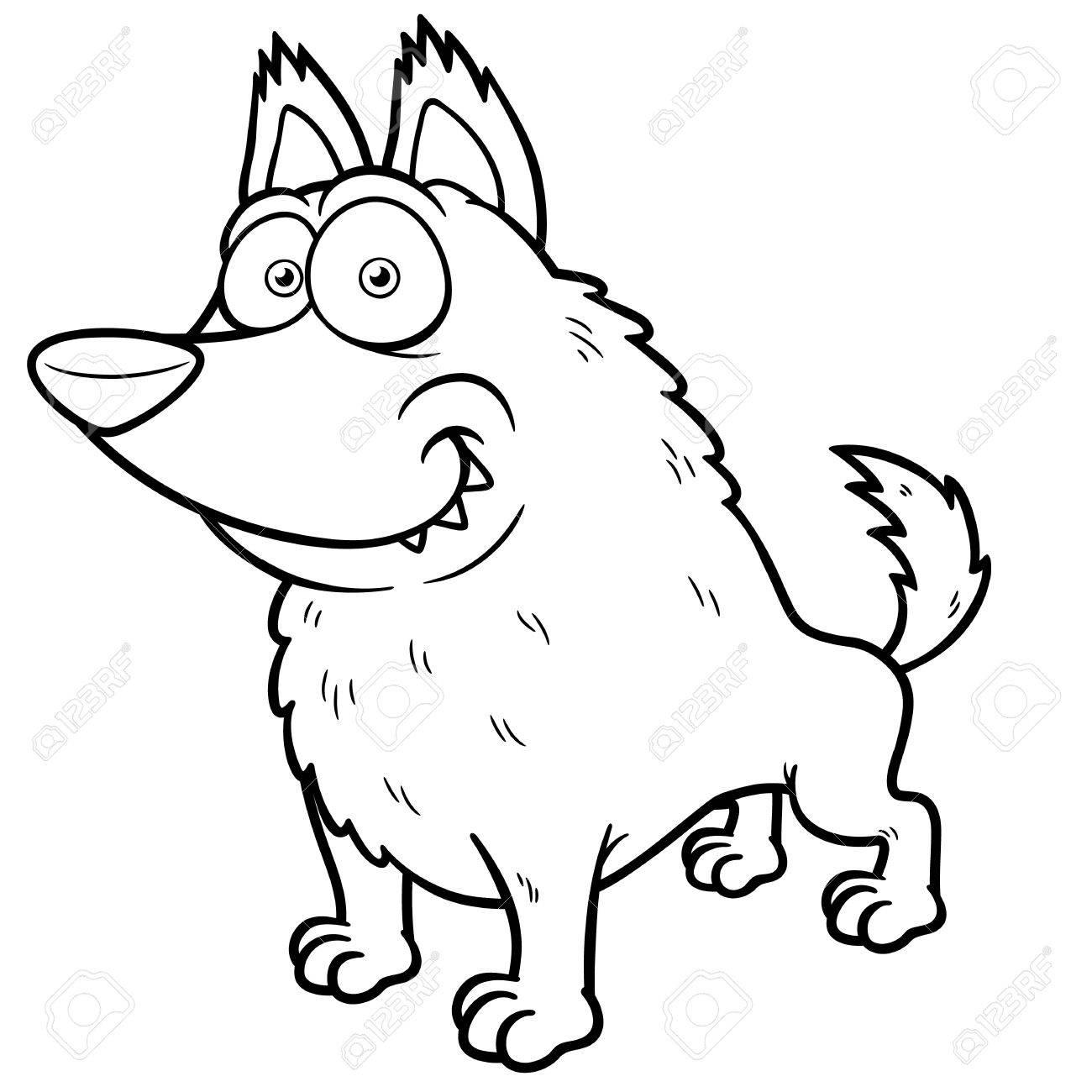 Ilustración Del Lobo De Dibujos Animados - Libro Para Colorear ...