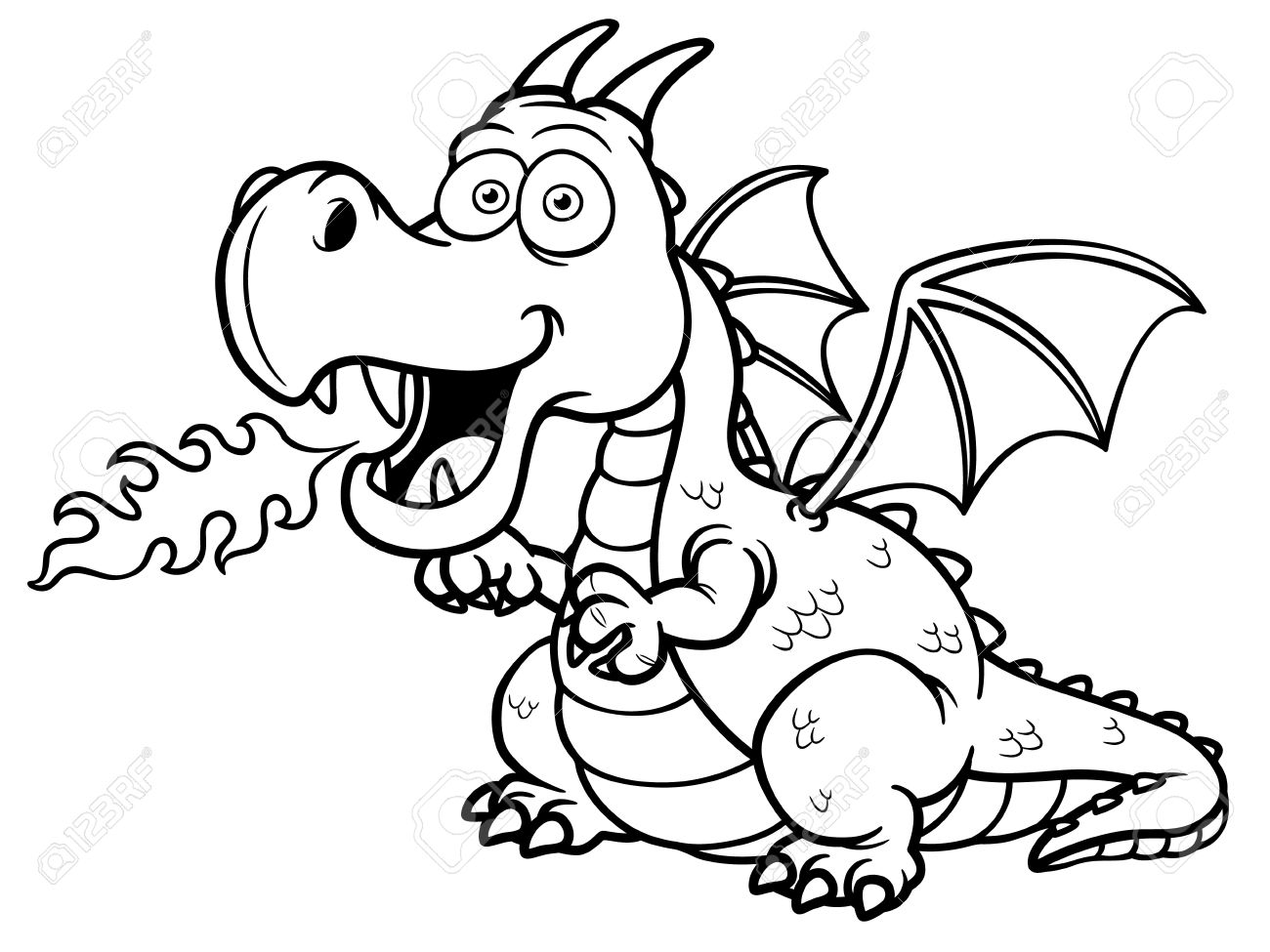 Vector Illustration Of Cartoon Dragon Fire - Coloring Book Royalty ...
