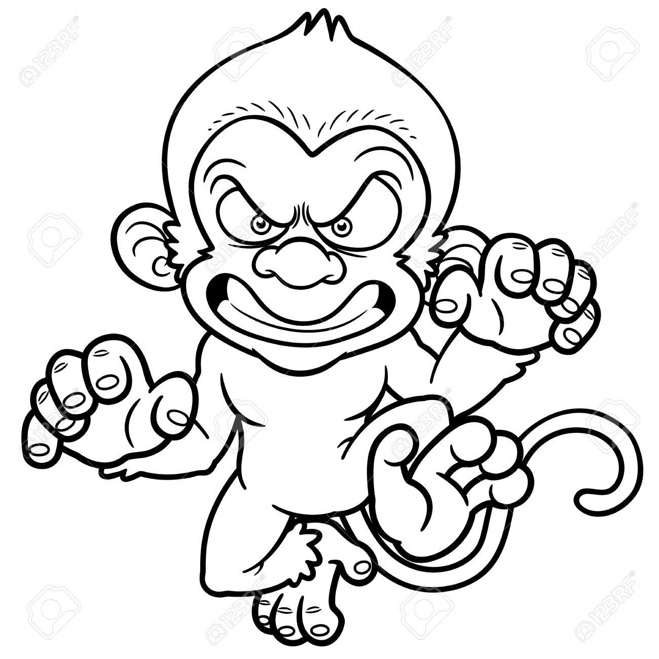 Ilustración De Dibujos Animados Mono Enojado - Libro Para Colorear ...