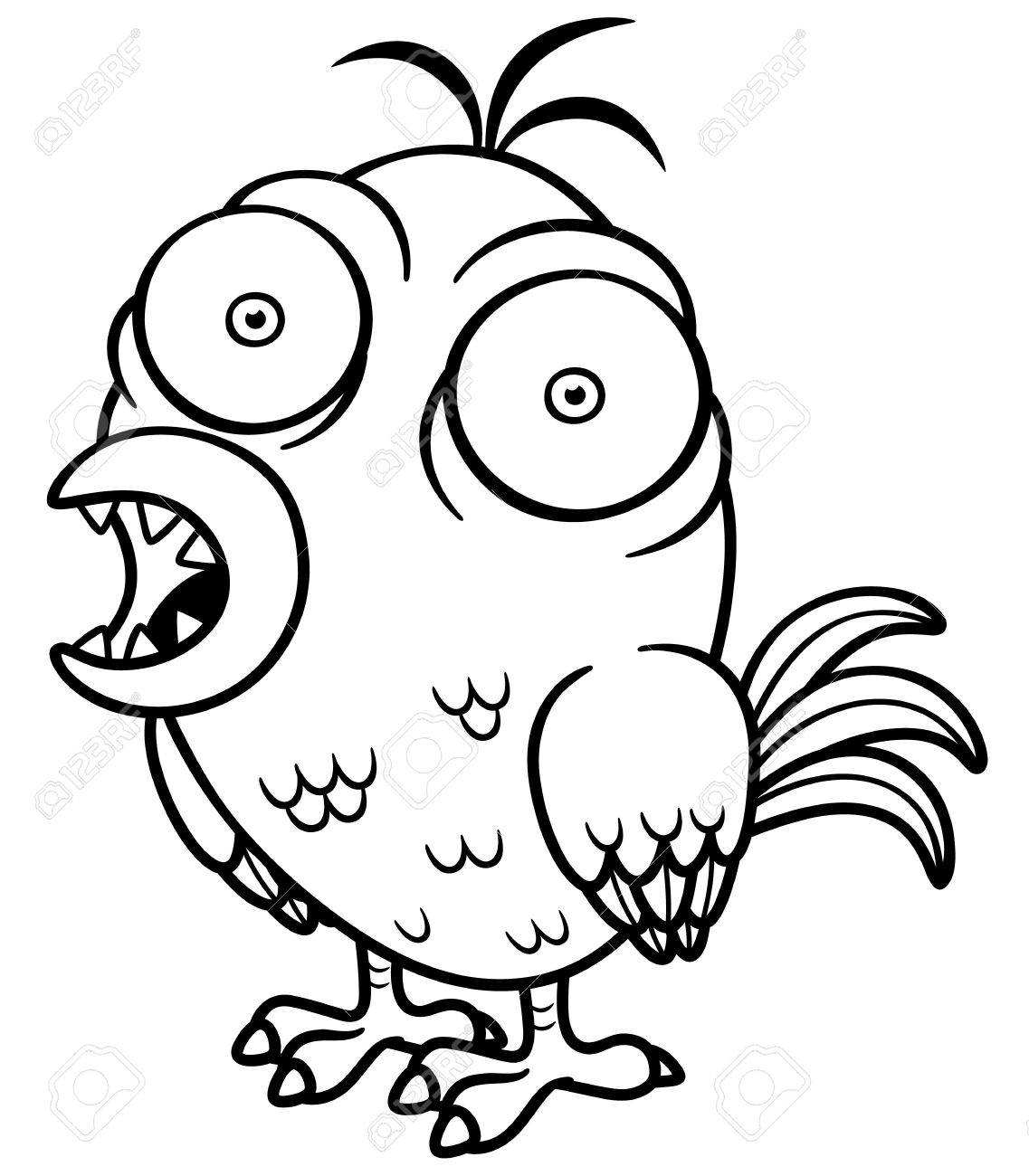 Vector Illustration Of Cartoon Bird - Coloring Book Royalty Free ...