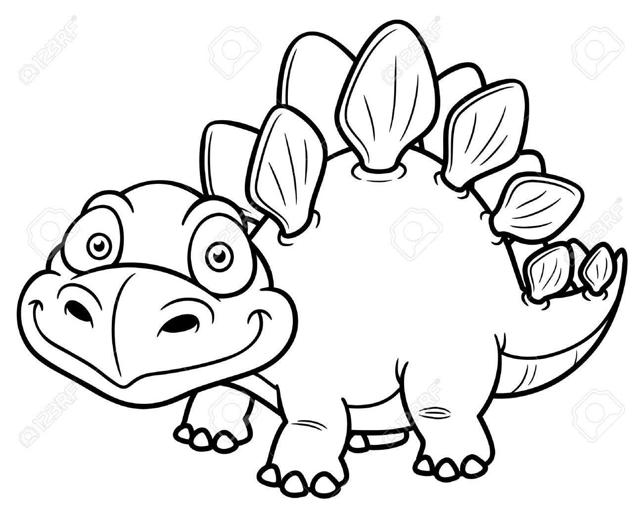Vector Illustration Of Cartoon Dinosaur - Coloring Book Royalty ...