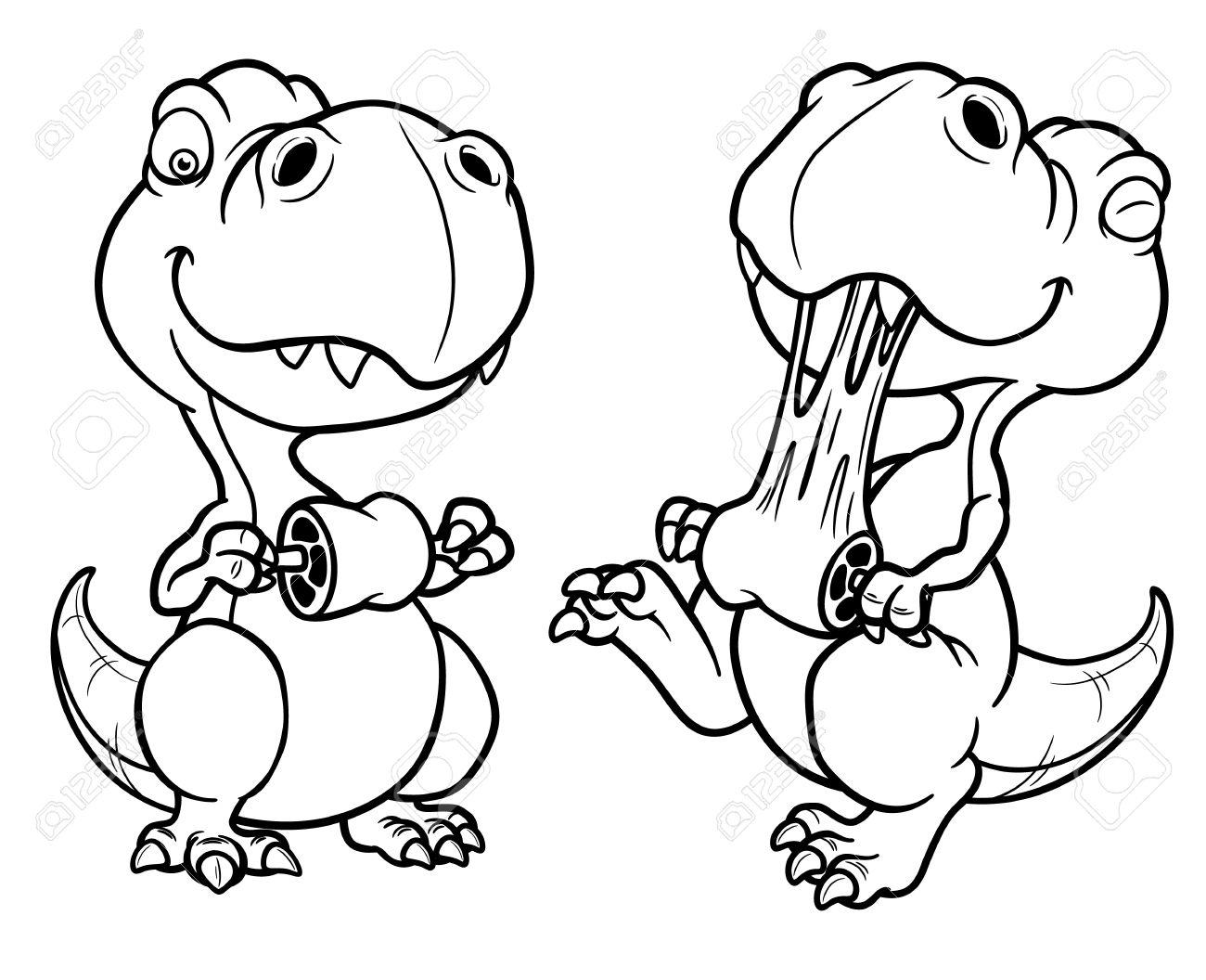 写真素材 , 漫画恐竜 , 塗り絵のベクトル イラスト