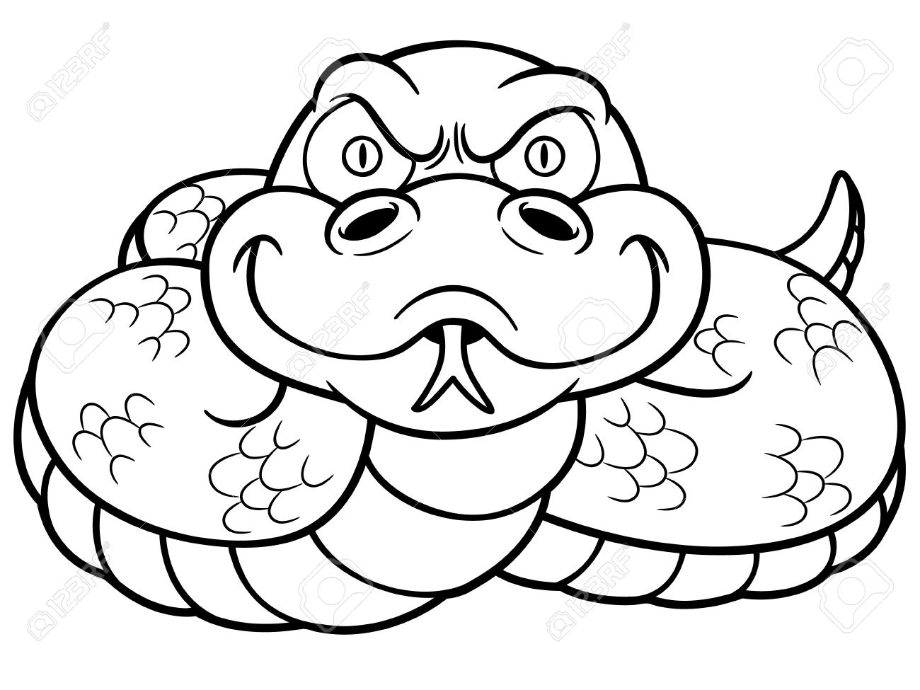 Vector Illustration Of Cartoon Snake - Coloring Book Royalty Free ...