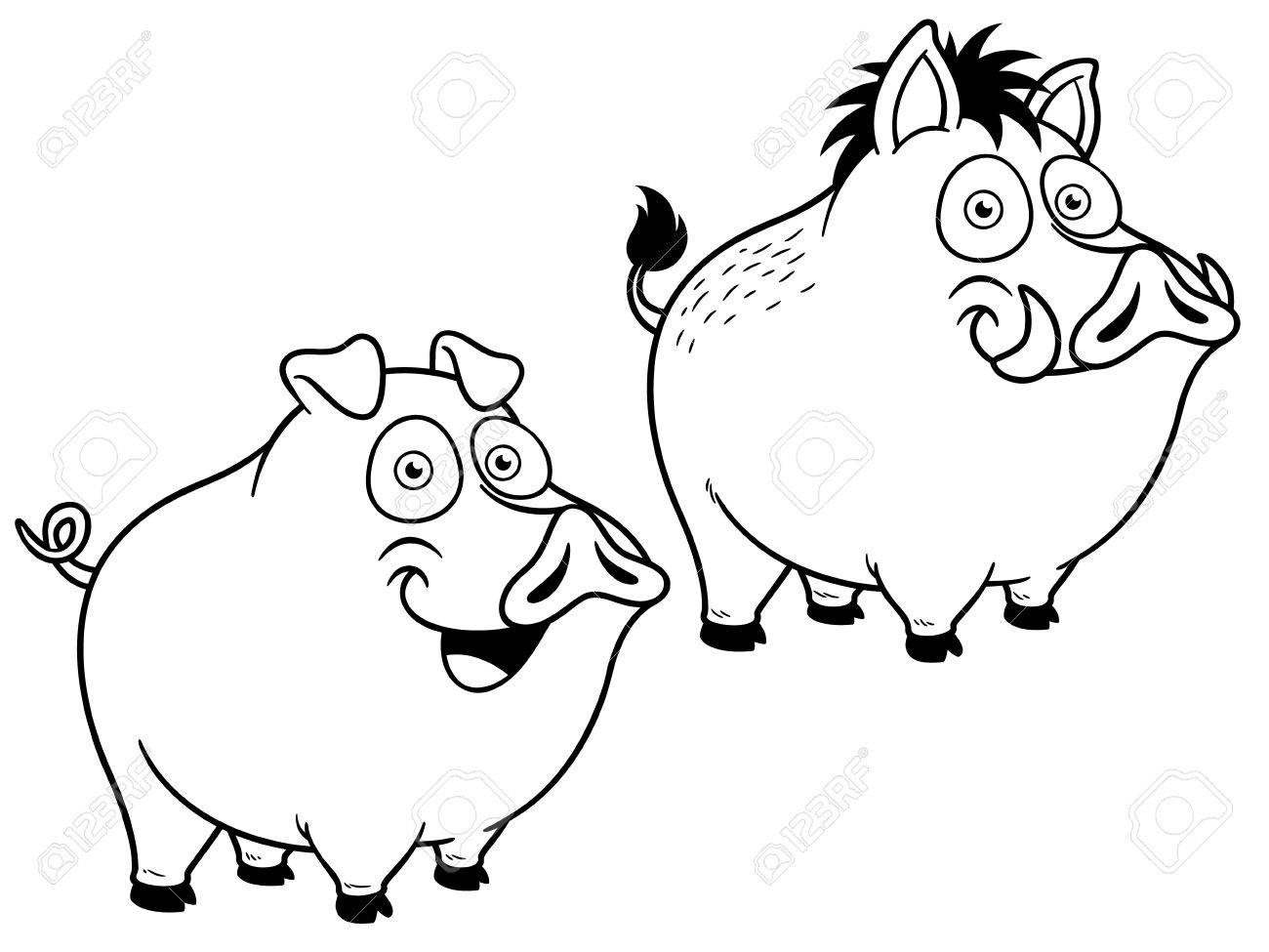 Vector Illustration Of Cartoon Pig - Coloring Book Royalty Free ...